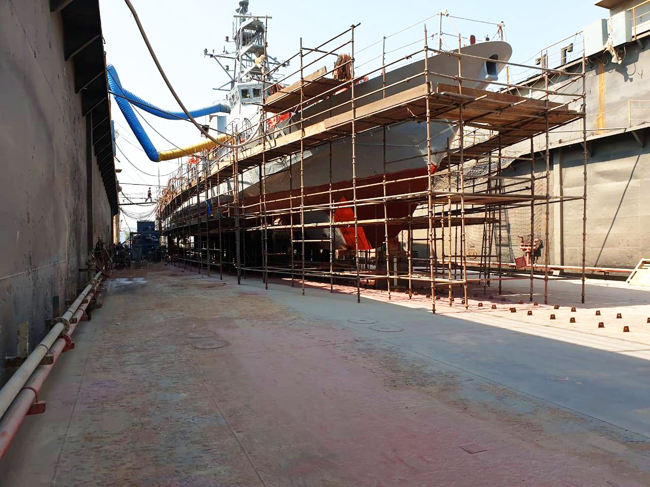 Navy patrol ship in Dry Dock awaiting Belzona 1341 Application