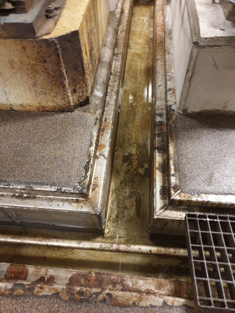 Corrosion protection system required for cracked weld seams in waste channel