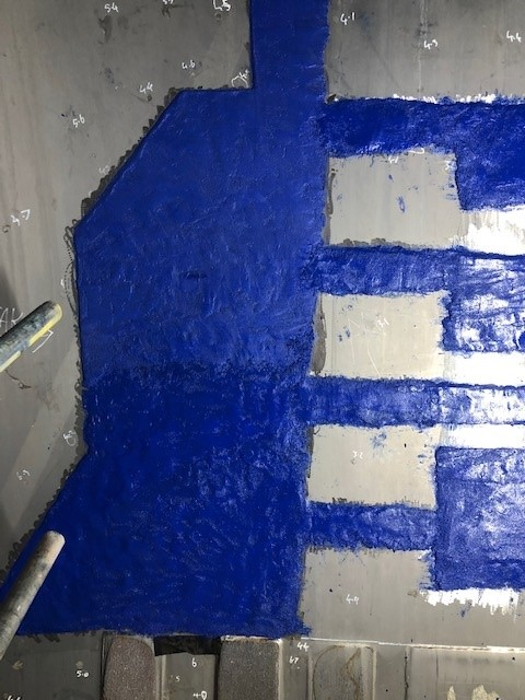 Ash silo protected against abrasion with epoxy repair system, Belzona 1818