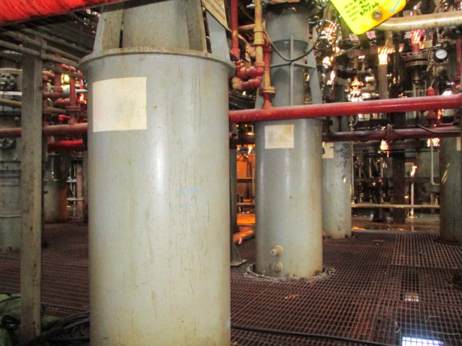 A row of offshore wellheads before wellhead repair starts