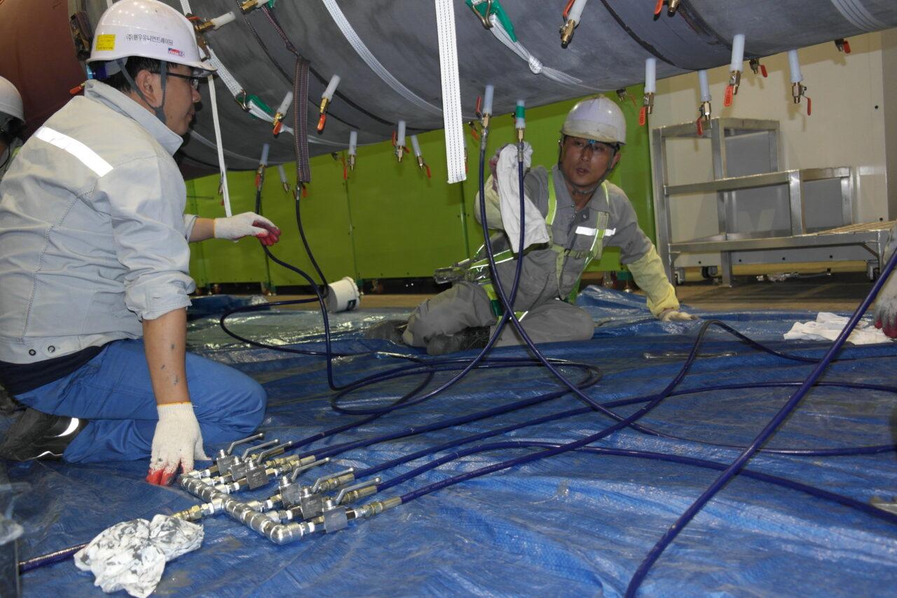 Injecting ceramic epoxy coating, Belzona 1321