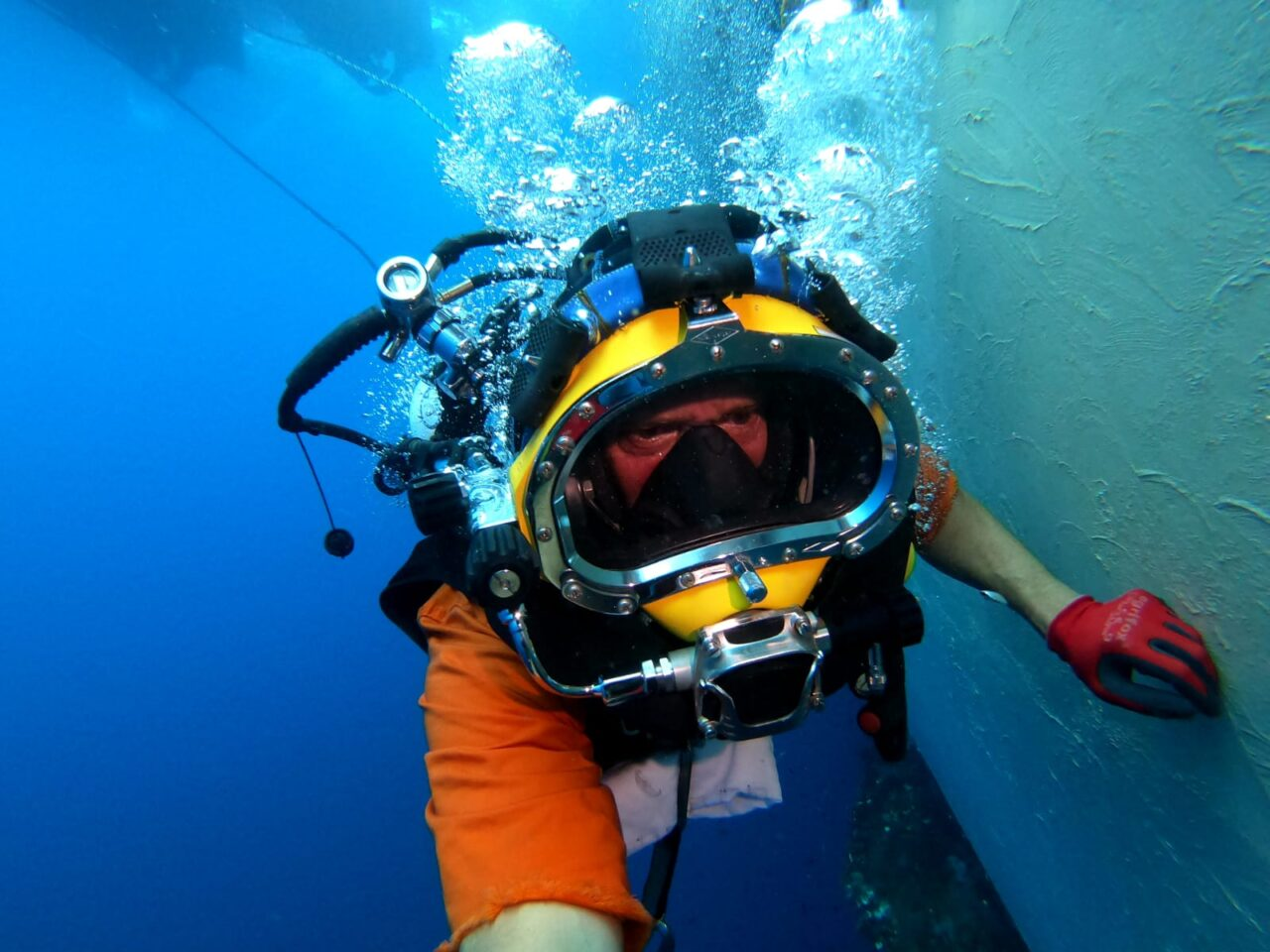 A Jones Marine diver applying Belzona 5831 to a vessel